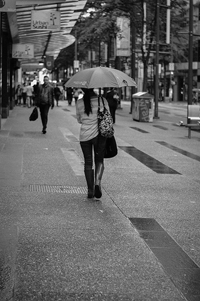 Boots and an umbrella