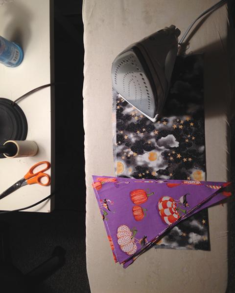 Sewing at night.