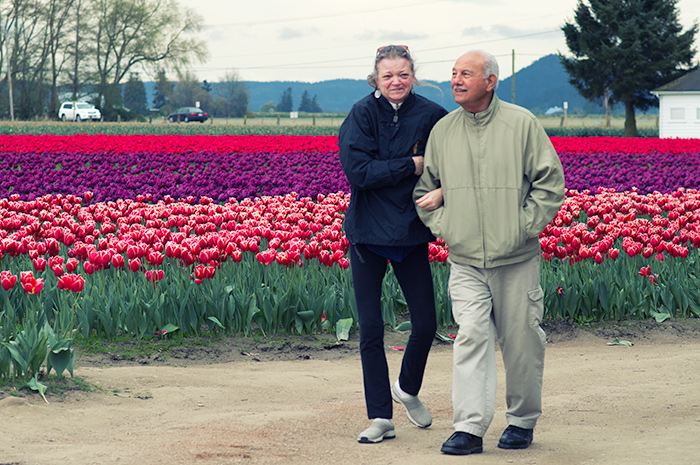 Walking in the tulips.