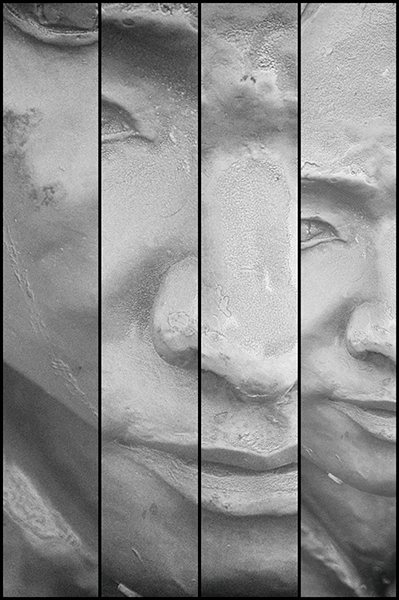 Sculpture face in pieces