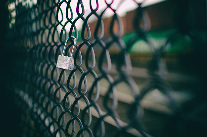 Lock on the fence.