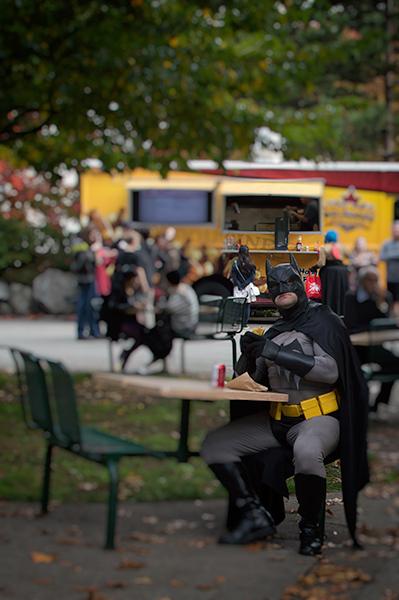 Even Batman needs a sandwich.